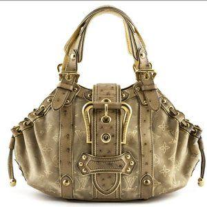 LOUIS VUITTON Gold & Beige Ostrich Theda Bag